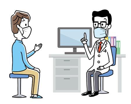 ベクターイラスト素材:マスクを付けて診察する医師と患者