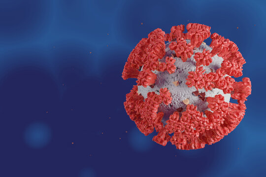 Microscope cell of Corona Virus or Covid 19 for health care and medical concept, 3d illustration