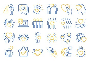 Obraz Friendship and love line icons. Interaction, Mutual understanding and assistance business. Trust handshake, social responsibility, mutual love icons. Trust friends, partnership. Line icon set. Vector - fototapety do salonu
