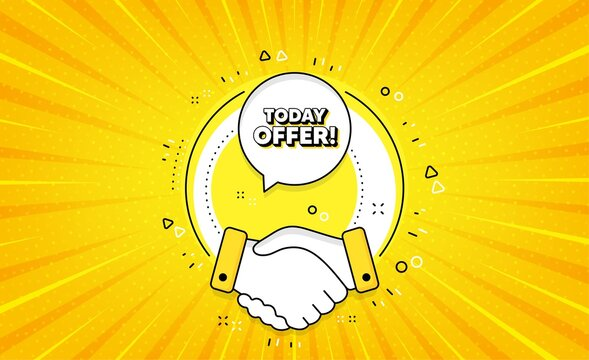 Today offer symbol. Yellow vector button with handshake. Special sale price sign. Advertising discounts symbol. Today offer line icon. Abstract yellow background. Vector