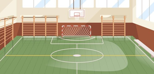 Interior of school gym equipped with basketball hoop, goal and wall bars. Indoor sports hall or court with equipment for playing soccer, football and handball. Colored flat vector illustration