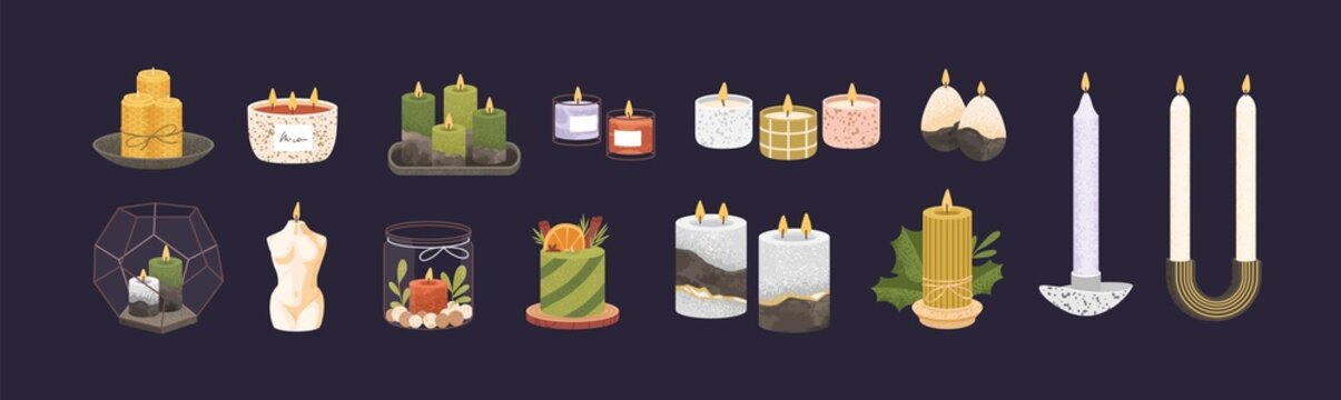 Set of modern cute burning candles with candlesticks and in jars or cups. Collection of trendy home decorative elements of different shape and color. Flat vector illustration isolated on black