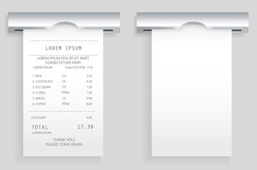 Wall Mural - Payment check paper document poked out of cash register. Buying financial invoice bill purchasing calculate pay. Receipt the seller forms at online checkout for transfer to buyer. ATM receipt check