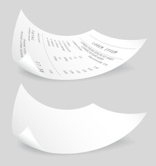 Wall Mural - Payment check 3d paper document. Buying financial invoice bill purchasing calculate pay vector isolated. Receipt the seller forms at online checkout for transfer to the buyer or client, paper piece