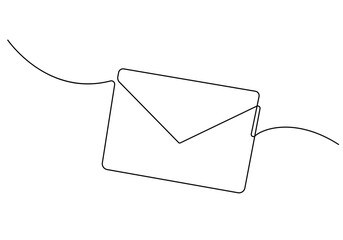 Continuous Line Drawing of Envelope on White Background. One Line Envelope Illustration. Minimalist Design. Contour Abstract Drawing. Vector Illustration.