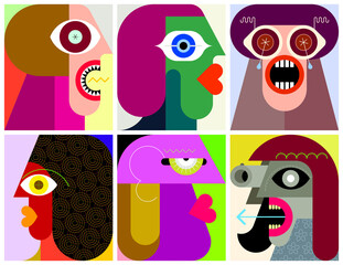 Six People Portraits modern art graphic illustration. Six different faces.