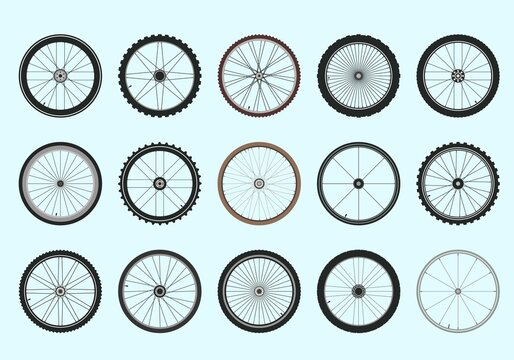 Bicycle wheels with spokes geometric tracery set. Professional toothed tires for fast and high quality driving extreme sports and circle high speeds relief tires with aluminum rims. Vector design.