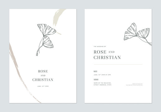 Minimal floral wedding invitation card template design, vintage palm leaves line art ink drawing on white