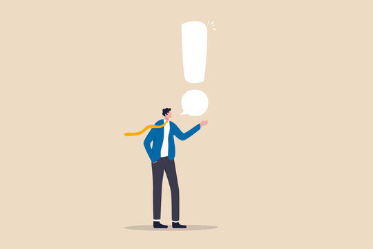 Story telling, speak out loud to draw attention and interest, fact important information or secret, caution and alert call concept, businessman speaking with speech bubble as exclamation point.