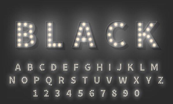 3d Light bulb alphabet. Dark style 3d retro typography typeface