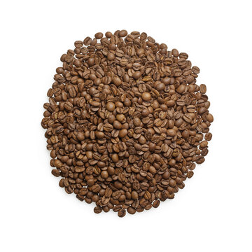 Isolated coffee beans arabica on white background with top view