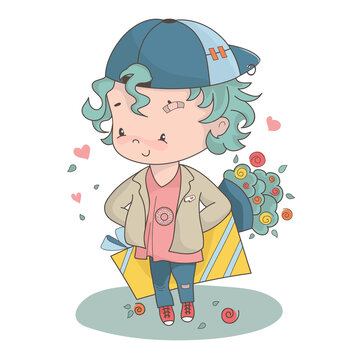 Valentine's Day Love card vector illustration. Cute boy in baseball hat with flowers and greeting card in cartoon style. Mother day or birthday concept