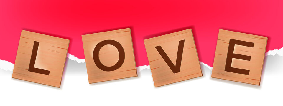 Vector tiles alphabet word game, wooden block letters spelling love in English. Cube square romantic engraved puzzle illustration on paper background. Valentines Day creative postcard, wooden letters