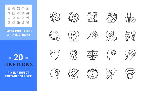 Line icons about core values. Business concept. Pixel perfect 64x64 and editable stroke