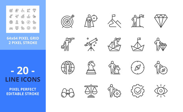 Line icons about mission, vision and values. Business concept. Pixel perfect 64x64 and editable stroke