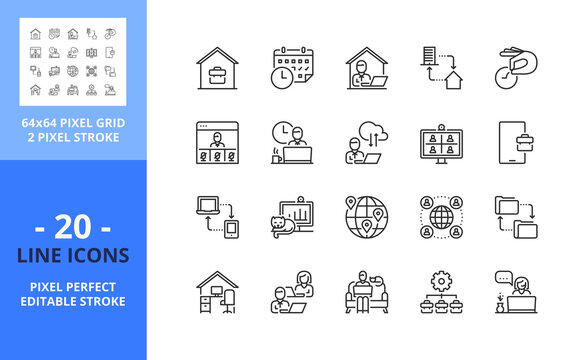 Line icons about remote working. Pixel perfect 64x64 and editable stroke
