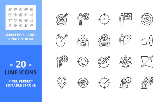 Line icons about target. Business concept. Pixel perfect 64x64 and editable stroke