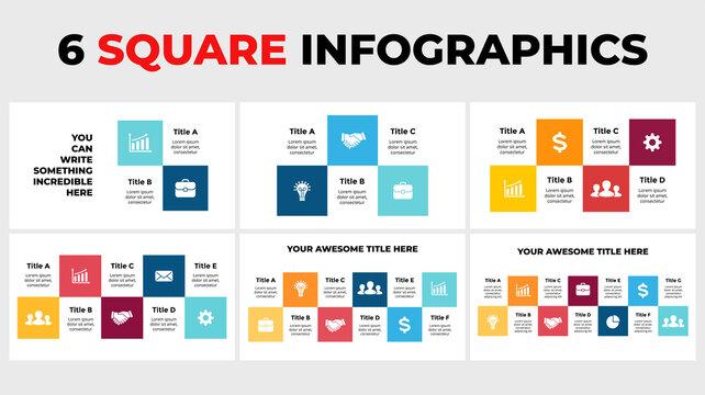 6 squares vector infographics. Presentation slide template. Data timeline visualization. 2, 3, 4, 5, 6, 7 steps. parts.