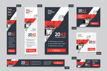 Fototapeta City Background Corporate Web Banner Template in multiple sizes. Easy to adapt to Brochure, Annual Report, Magazine, Poster, Corporate Advertising media, Flyer, Website. obraz