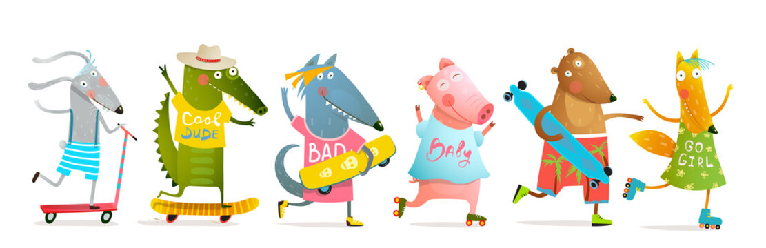 Cool baby animals for kids skating with roller blades and skateboard or longboard. Fun cartoon design for children with many cool animals doing board sports. Vector cartoon illustration collection.