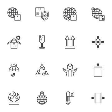 Logistics and shipping line icons set, cargo logistics outline vector symbol collection, linear style pictogram pack. Signs, logo illustration. Set includes icons as worldwide shipping, fragile parcel