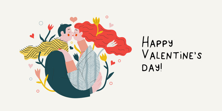 Couple in love - Valentines day graphics. Modern flat vector concept illustration - a young hetoresexual couple kissing and embracing. Hearts and flowers. Cute characters in love concept