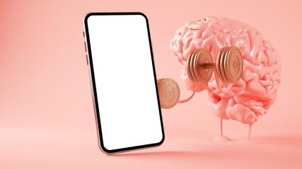 Brain training and smartphone Wall mural