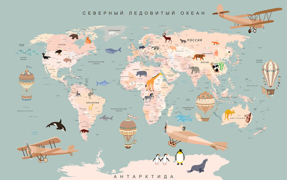 wallpaper for children world map with animals and balloons