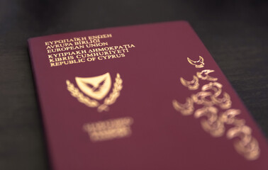 Cypriot passports on black background ,Republic of Cyprus, European Union