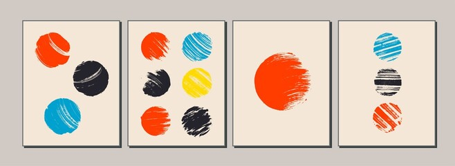 Set of modern, minimal, colorful posters, cards, brochures, covers. Space, planet, sun concept.