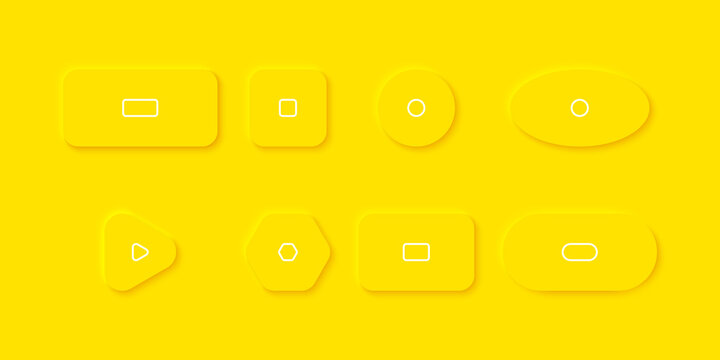 Yellow Buttons in Neomorphism design. Buttons different shape with shadow. Vector illustration
