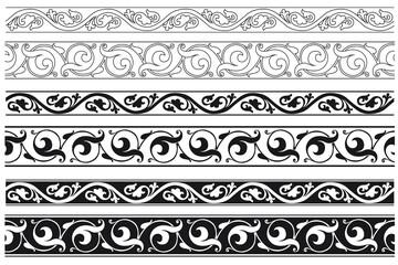 Fototapeta Set of decorative floral seamless ornamental border - Vector modular