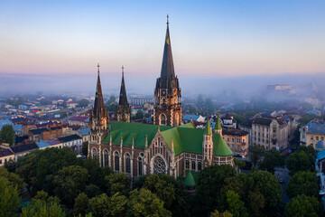 Fototapeta Aerial veiw on Elizabeth church in Lviv, Ukraine from drone.