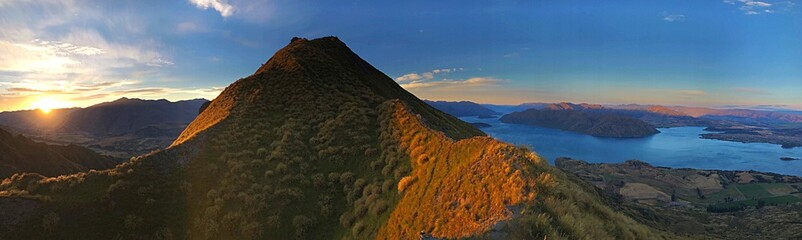 Panoramic View Of Mountains Against Sky During Sunset - fototapety na wymiar