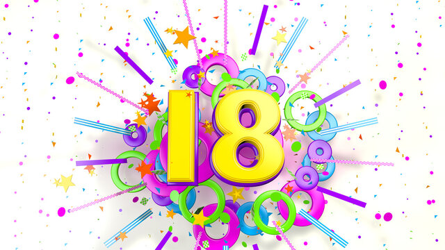 Number 18 for promotion, birthday or anniversary over an explosion of colored confetti, stars, lines and circles on a white background. 3d illustration