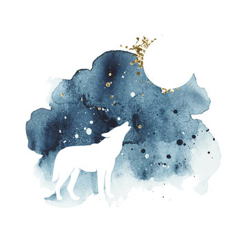 Vector silhouette of wolf howling at the full moon. Watercolor print with isolated animal in dark and golden colors. Night sky. Abstract watercolor vector splash.