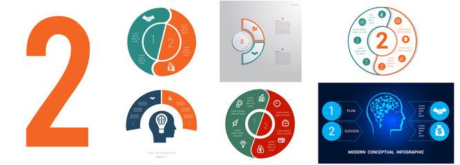 Fototapeta Set 6 universal templates for Infographics conceptual cyclic processes for 2 positions possible to use for workflow, banner, diagram, web design, timeline, area chart,number options obraz