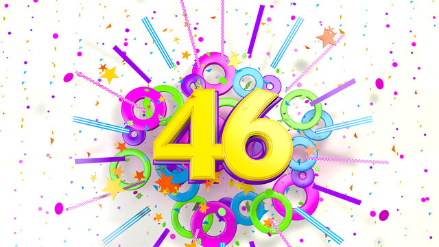 Number 46 for promotion, birthday or anniversary over an explosion of colored confetti, stars, lines and circles on a white background. 3d illustration.