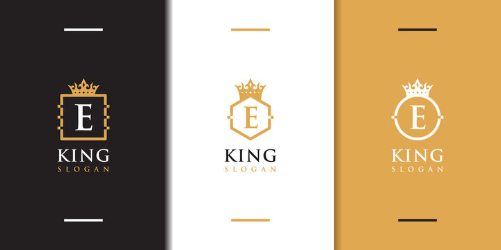 Letter e crown logo collection