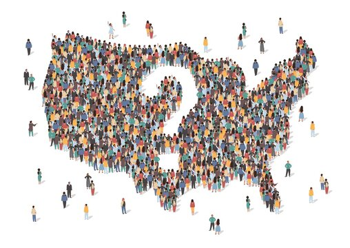 US country is at a crossroads concept vector illustration. USA map made of many people. Map of United States of America with question mark in the center. Group of people stay in formation.