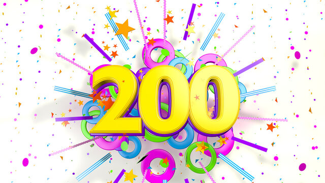 Number 200 for promotion, birthday or anniversary over an explosion of colored confetti, stars, lines and circles on a white background. 3d illustration