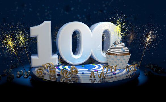 100th birthday or anniversary cupcake with big white number with yellow streamers on blue table with dark background full of sparks. 3d illustration
