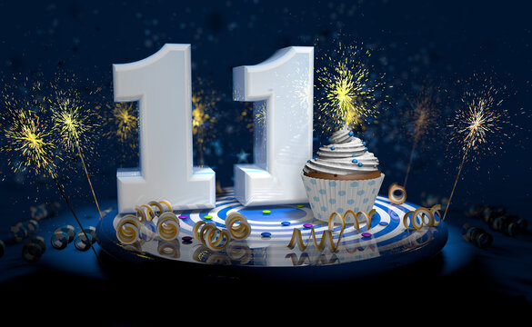 11th birthday or anniversary cupcake with big white number with yellow streamers on blue table with dark background full of sparks. 3d illustration