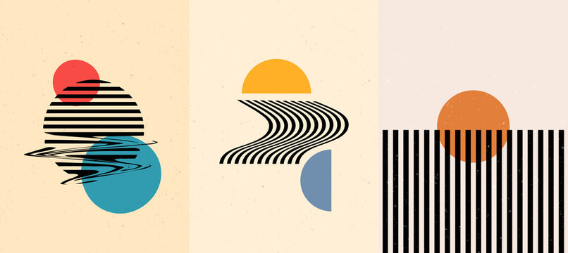 Vector illustration. Surreal sun scenes. Mid century modern graphic. Minimalist landscape set. Abstract shapes and lines. Design elements for poster, book cover, brochure, magazine, gift card