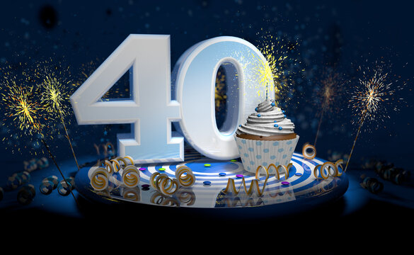40th birthday or anniversary cupcake with big white number with yellow streamers on blue table with dark background full of sparks. 3d illustration