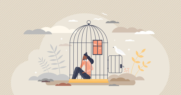 Inner prison as mental state with thought stuck and block tiny person concept