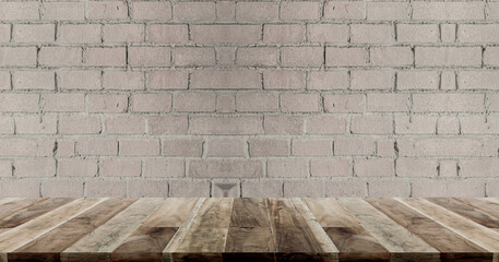 wooden board on brick wall background