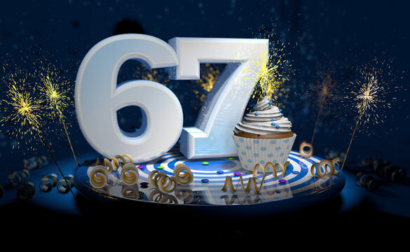 67th birthday or anniversary cupcake with big white number with yellow streamers on blue table with dark background full of sparks. 3d illustration