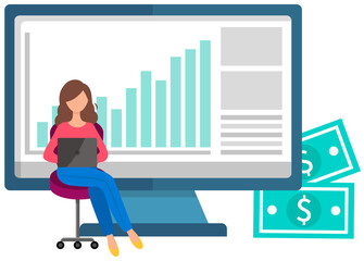 Wall Mural - Woman buys on online commerce. E-commerce. Online business illustration with buyer pays with app. Young girl sits with a laptop and makes purchases in store using the Internet, looks at sales figures