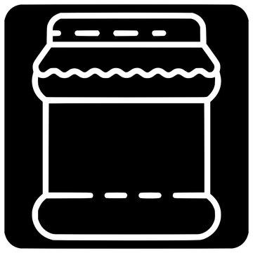 homemade jam jar icon outline style vector Outline, Black, Icon, Jam, Jar, Homemade, Vector, Design, Isolated, Food, Symbol, Illustration